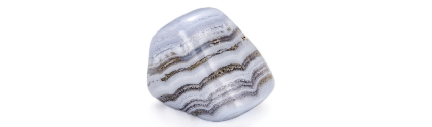 A tumbled blue lace agate crystal on a white background.