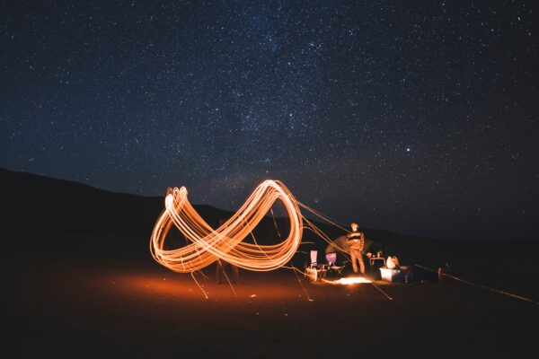 timelapse photography of steel wool fire dancing at night